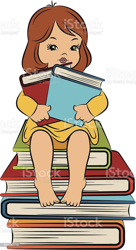 Vintage cartoon little girl with books. Vector royalty-free stock vector art