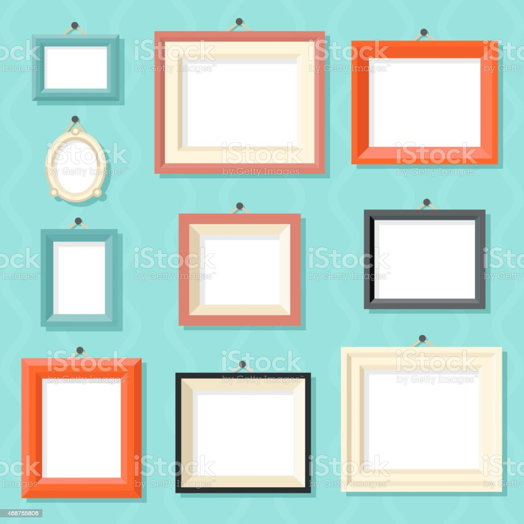 Vintage Cartoon Photo Picture Painting Drawing Frame Template Icon Set vector art illustration