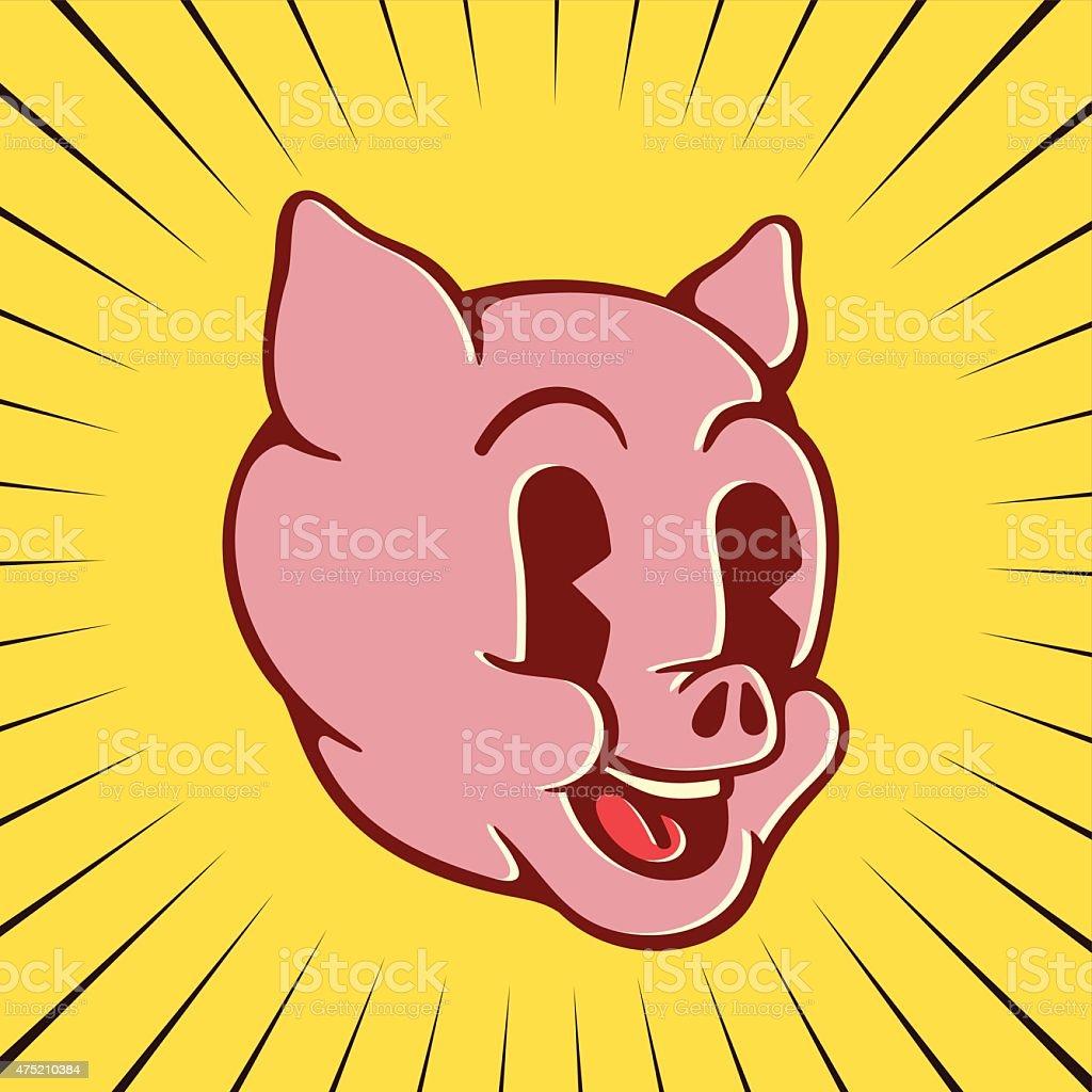 Vintage cartoon pig character face, smiling piglet vector art illustration