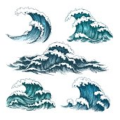 Sea waves. Vintage cartoon ocean tidal storm waves isolated on white background for surfing and seascape, vector illustration