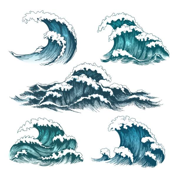 Vintage cartoon sea waves Sea waves. Vintage cartoon ocean tidal storm waves isolated on white background for surfing and seascape, vector illustration surf stock illustrations