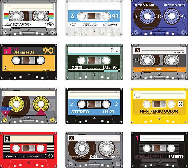 Vintage cassette tape Retro plastic audio cassette, music cassette, cassette tape. Isolated on white background. Realistic illustration of old technology. Vintage tape. tape stock illustrations
