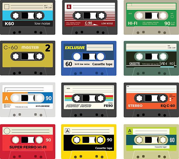 ilustrações, clipart, desenhos animados e ícones de fita cassete vintage, volume 1 - fita cassete