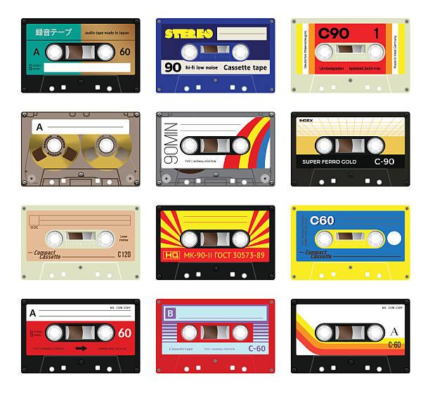 ilustrações, clipart, desenhos animados e ícones de fita cassete vintage, volume 3 - fita cassete