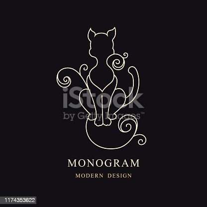 Vector illustration of Vintage Cat. Drawn Engraving. Linear Emblem. Monogram Template for Cards, Invitations, Book Design, Restaurant Menu, Educational Services, Salons, Advertising. Children's Decor.