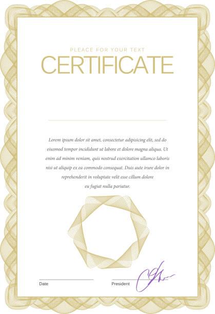 ilustraciones, imágenes clip art, dibujos animados e iconos de stock de vintage certificado. plantilla de diplomas, moneda. - marcos de certificados y premios