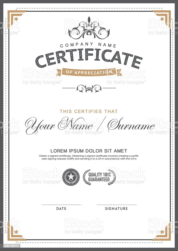 Vintage Certificate Template Smartcleanhipster Stock Vector Art