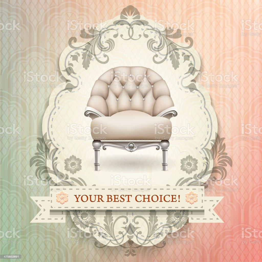 vintage chair vector art illustration