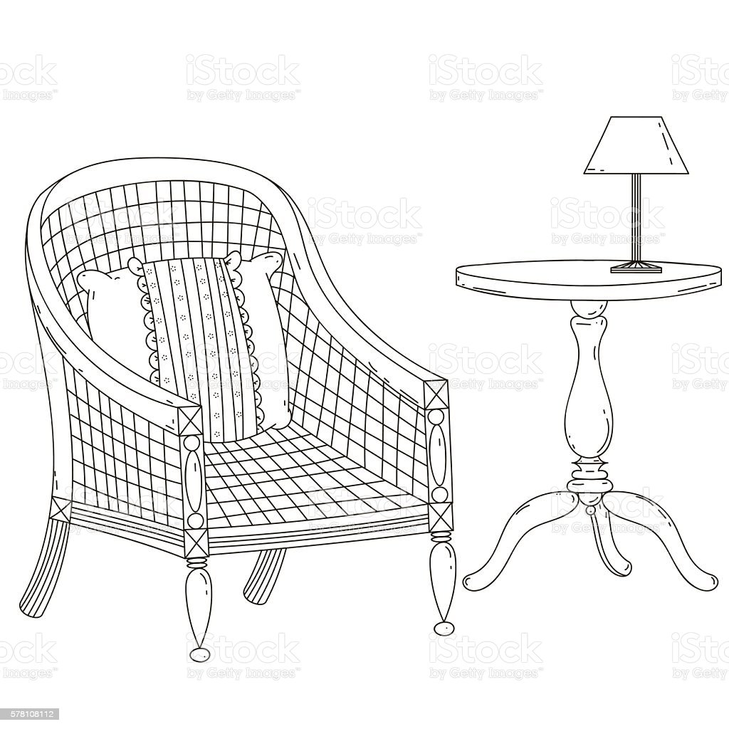 Vintage chair with a pillow. Desk  lamp. Black contour on vector art illustration