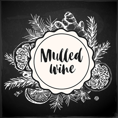 Vintage chalk drawing background with ingredients of mulled wine