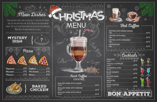 Vintage chalk drawing christmas menu design. Restaurant menu Vintage chalk drawing christmas menu design. Restaurant menu irish coffee stock illustrations
