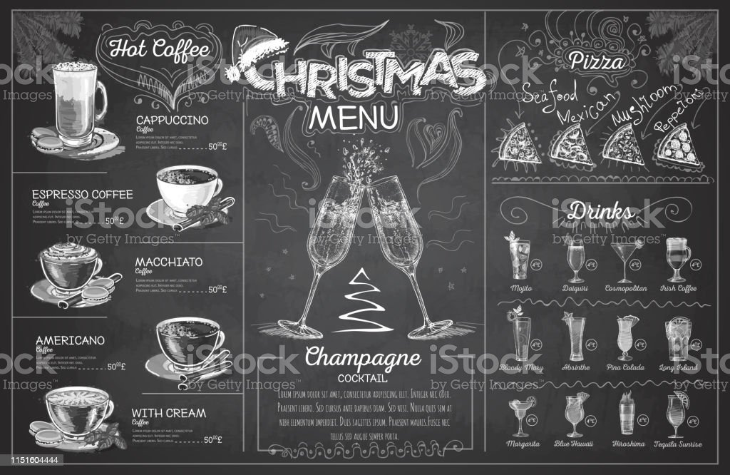 Vintage chalk drawing christmas menu design with champagne....