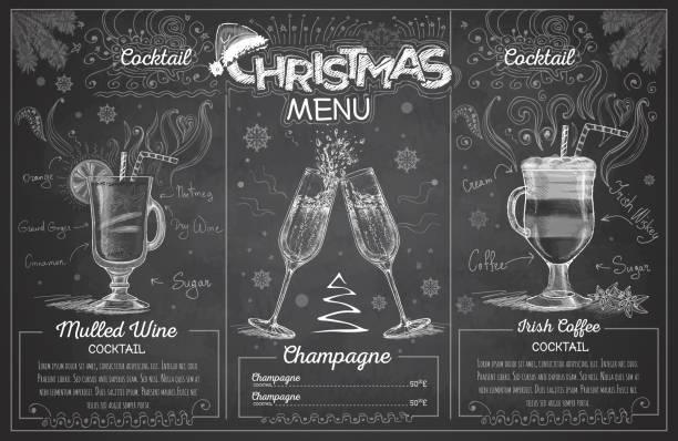 Vintage chalk drawing christmas menu design with champagne. Restaurant menu Vintage chalk drawing christmas menu design with champagne. Restaurant menu irish coffee stock illustrations