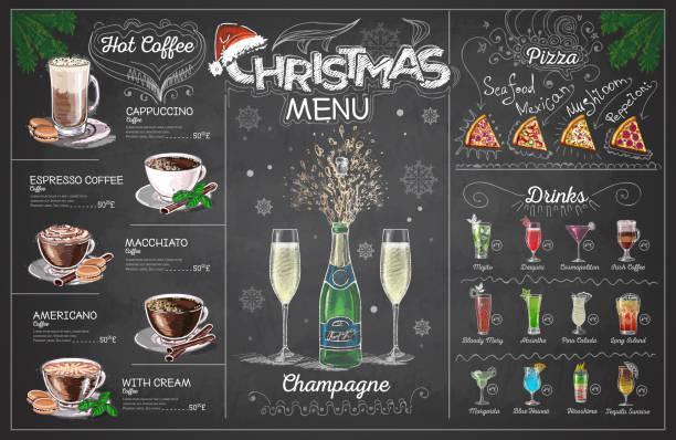 illustrazioni stock, clip art, cartoni animati e icone di tendenza di vintage chalk drawing christmas menu design with champange. restaurant menu - christmas cooking