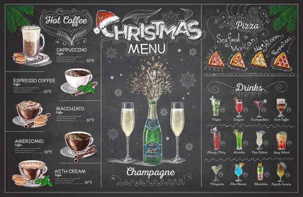ilustrações de stock, clip art, desenhos animados e ícones de vintage chalk drawing christmas menu design with champange. restaurant menu - christmas cooking