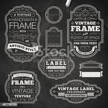 Vector illustration of some ornate chalk frames, with texture.