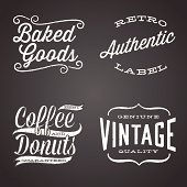 Set of retro chalk label designs.  Each design is grouped for easy editing.  Download includes zipped AI CS4 file with editable text.  Texture can be removed.