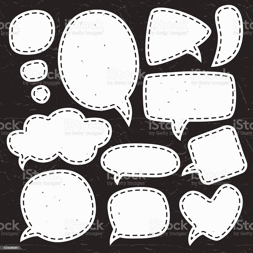 Vintage chalk speech bubbles. Different sizes and forms. vector art illustration