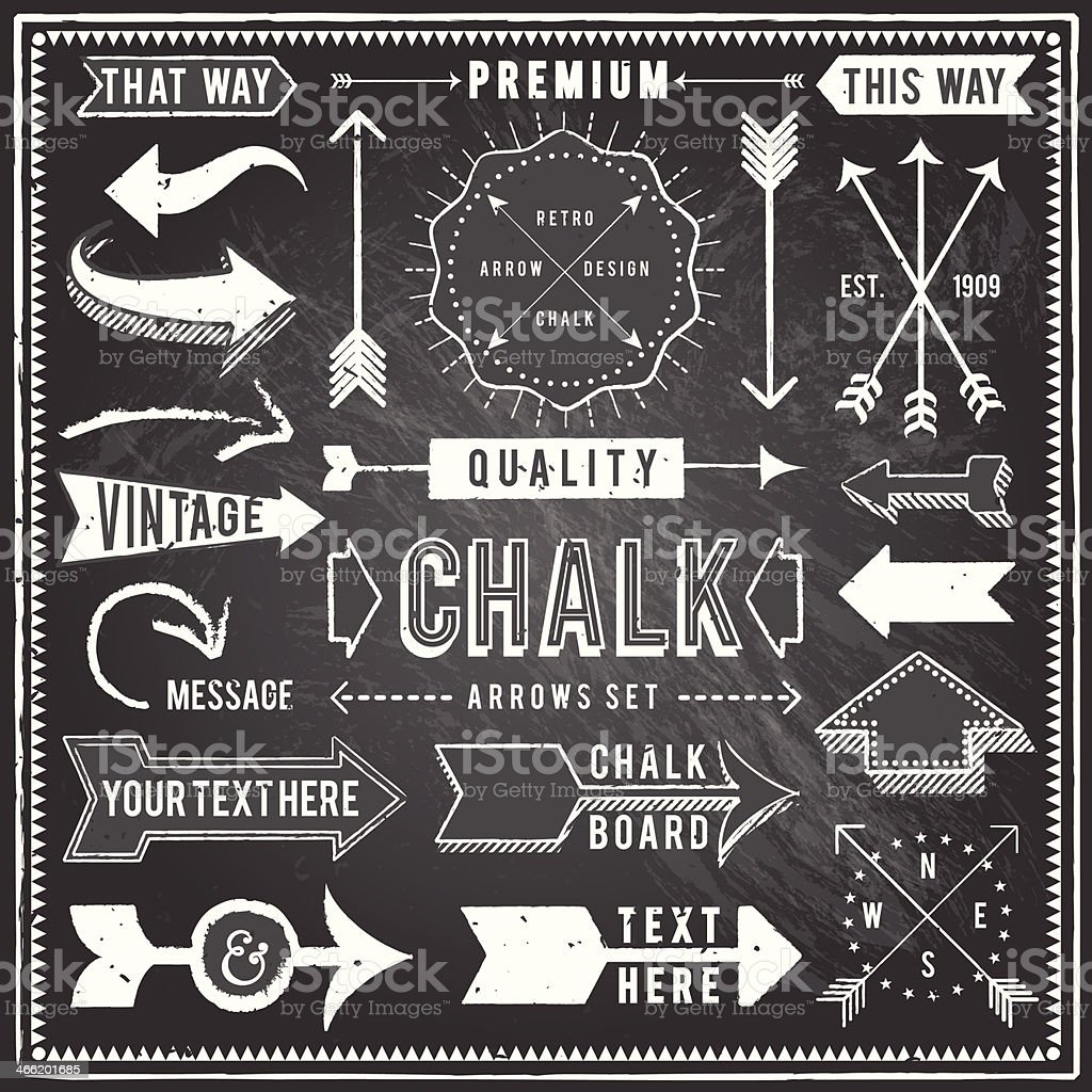 Vintage Chalkboard Arrows vector art illustration