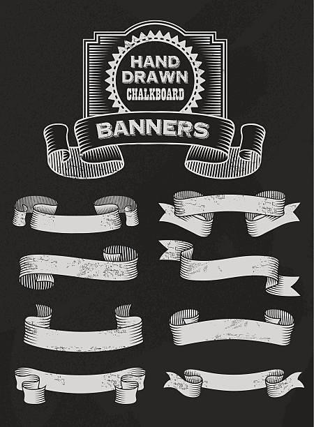 Vintage Chalkboard Banner and Ribbon Vector Design Set vector art illustration