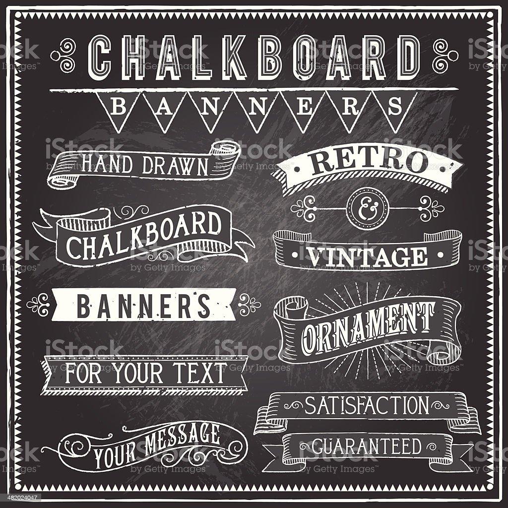 Vintage Banners Chalkboard - ilustração de arte em vetor