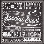 Vintage chalkboard invitation design with retro and hand-drawn elements.  File is layered, each object is grouped separately, and colors are global for easy editing.  Texture can be removed.  AI EPS10 file with transparency.