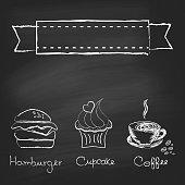 Vintage chalkboard menu design with hamburger, cupcake and coffee cup