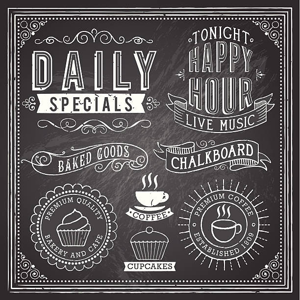 Vintage Chalkboard Ornaments Set of chalkboard ornaments and banners.  Each object is grouped and file is layered for easy editing.  Textures can be removed.  AI EPS 10 with transparency. cake borders stock illustrations