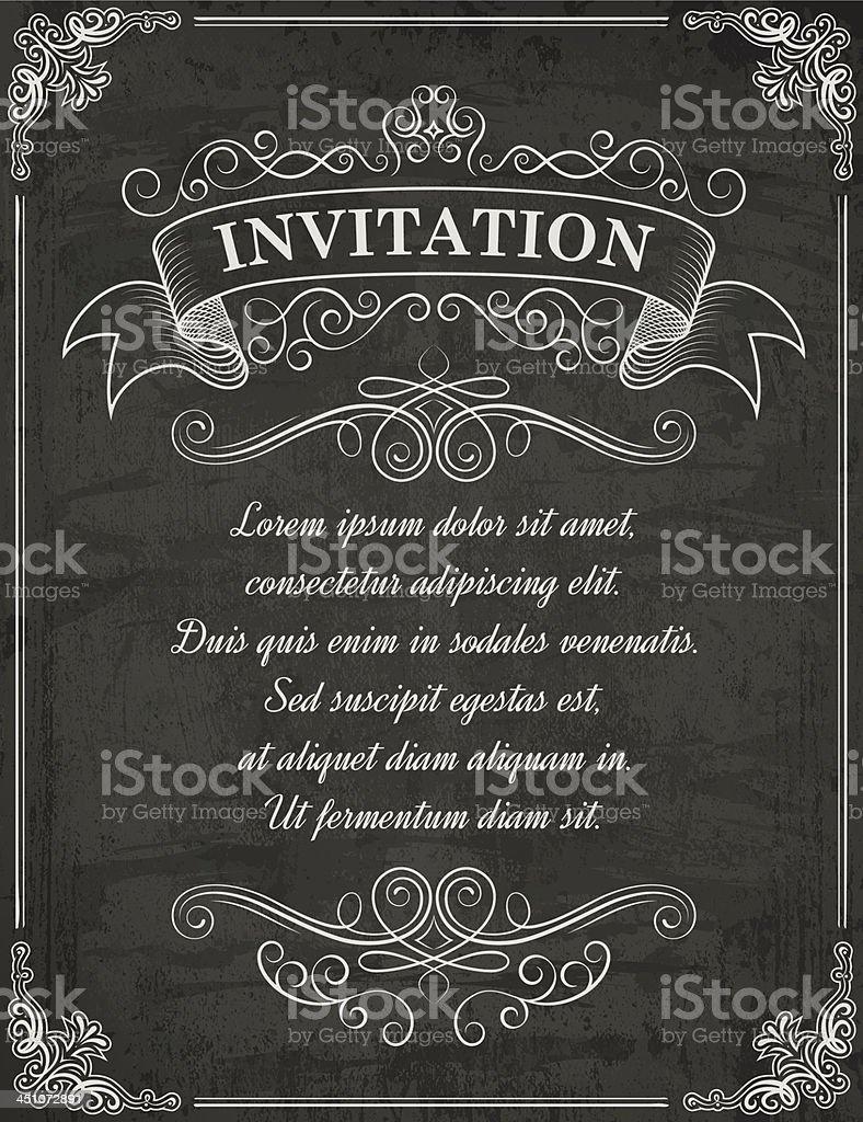 Vintage chalkboard saying invitation on top royalty-free stock vector art