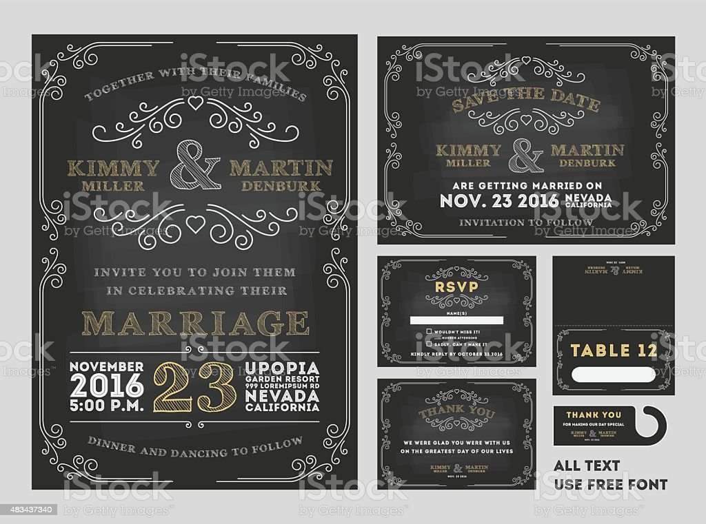 Vintage Tafel Hochzeit Einladung Design Sets Gehören Einladung Karte  Lizenzfreies Vektor Illustration