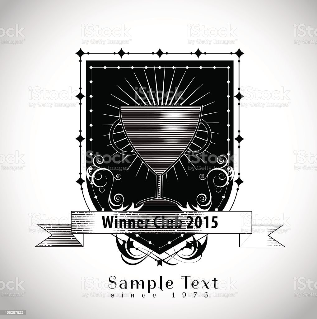 Vintage Champions Trophy Logo Vector Illustration Royalty Free Stock