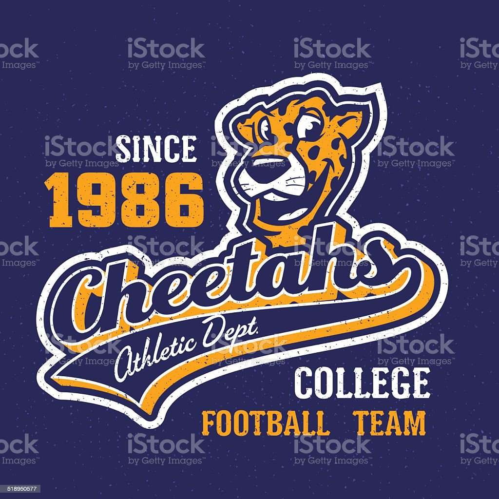 Vintage cheetahs apparel design vector art illustration