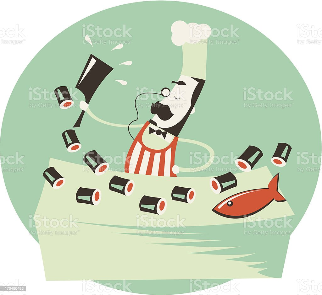 Vintage Chef chopping up some Sushi royalty-free stock vector art