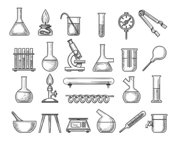 illustrazioni stock, clip art, cartoni animati e icone di tendenza di vintage chemistry lab - chimica