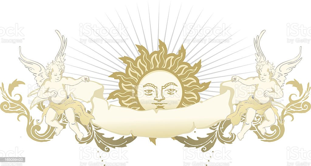 vintage cherubs and sun emblem decoration