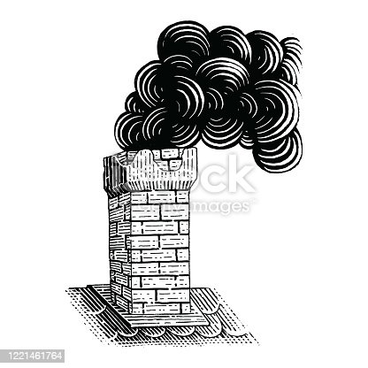 istock Vintage Chimney hand drawing engraving illustration black and white clip art isolated on white background 1221461764