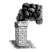 Vintage Chimney hand drawing engraving illustration black and white clip art isolated on white background