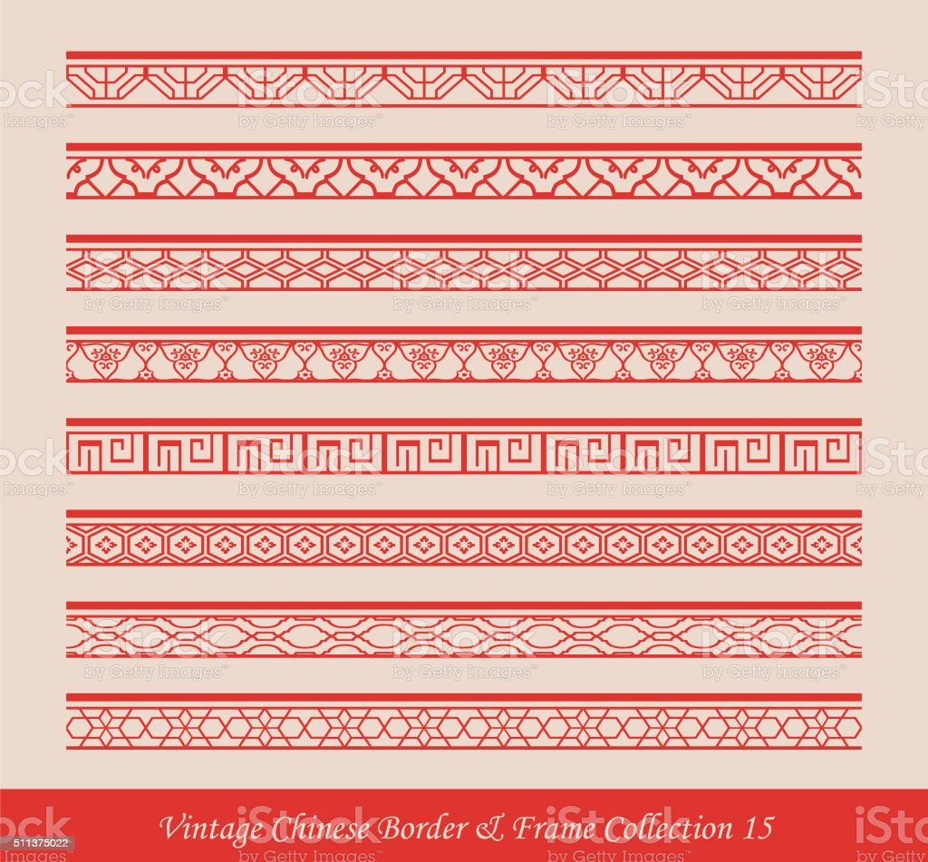 Vintage Chinese Border Frame Vector Collection 15 Stock ...