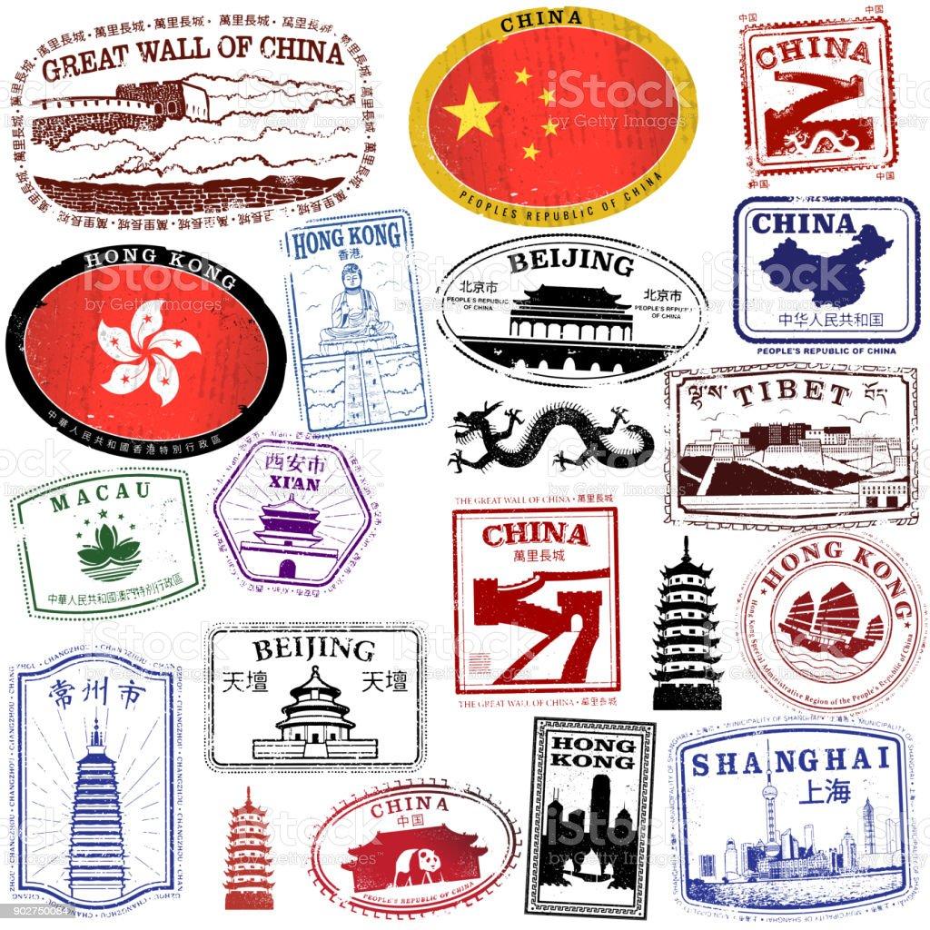 Vintage kinesiska pass stil frimärken - Royaltyfri Arkitektur vektorgrafik