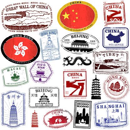 Vintage Kinesiska Pass Stil Frimärken-vektorgrafik och fler bilder på Arkitektur