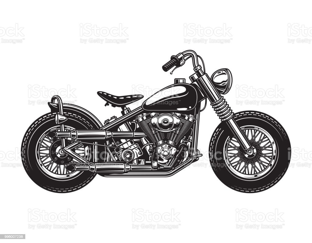 vintage chopper motorcycle side view template stock vector art