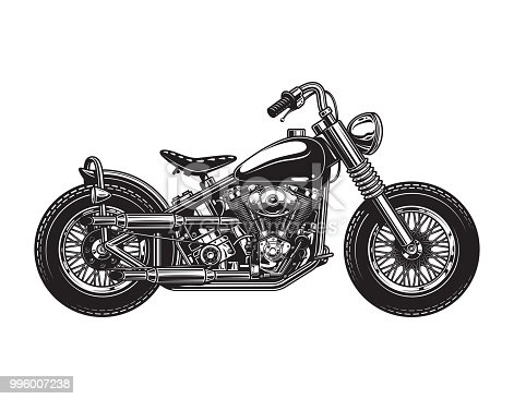 Vintage chopper motorcycle side view template in monochrome style isolated vector illustration