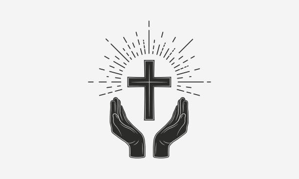 Vintage Christian logo. Hands with catholic cross and sunburst. Vector illustration Vector illustration catholicism stock illustrations