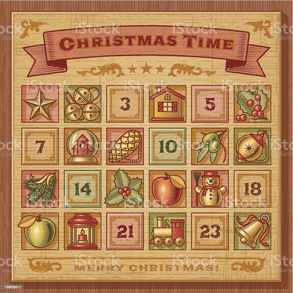 Vintage Weihnachten Adventskalender Lizenzfreies Vintage Weihnachten  Adventskalender Stock Vektor Art Und Mehr Bilder Von Adventskalender