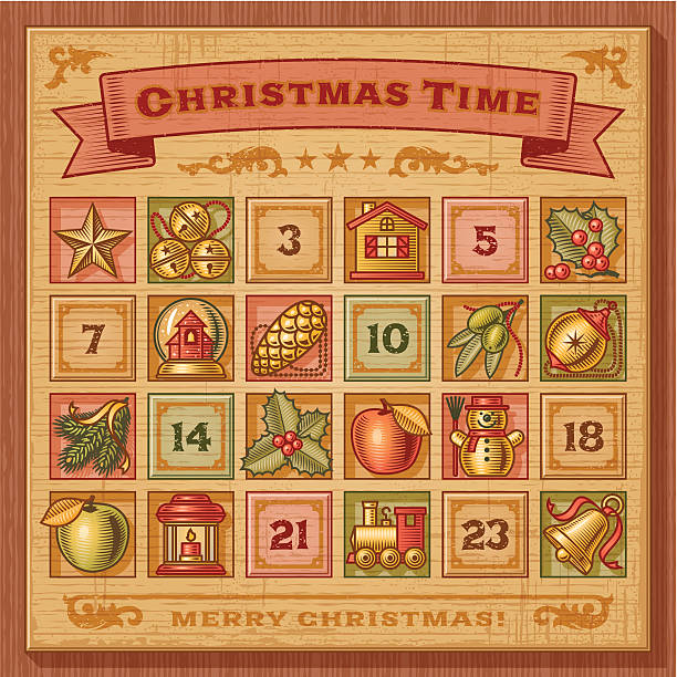 Vintage Christmas Advent Calendar vector art illustration