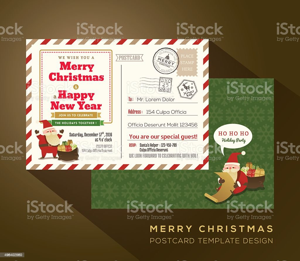 Vintage Christmas and Happy New year holiday postcard background vector art illustration