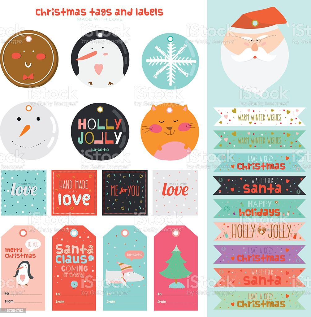 Vintage Christmas And New Year Greeting Stickers Stock Vector Art