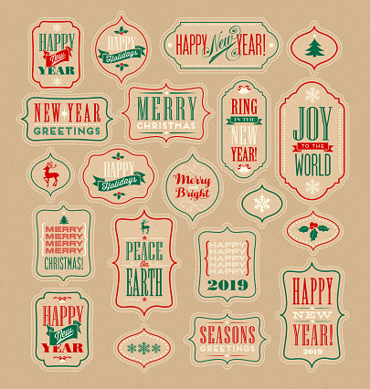 Vintage Christmas and New Years design elements for gift tags, stickers.