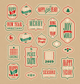 Christmas and New Years Holiday design elements for gift tags, greeting cards, banners. Vintage typography designs.