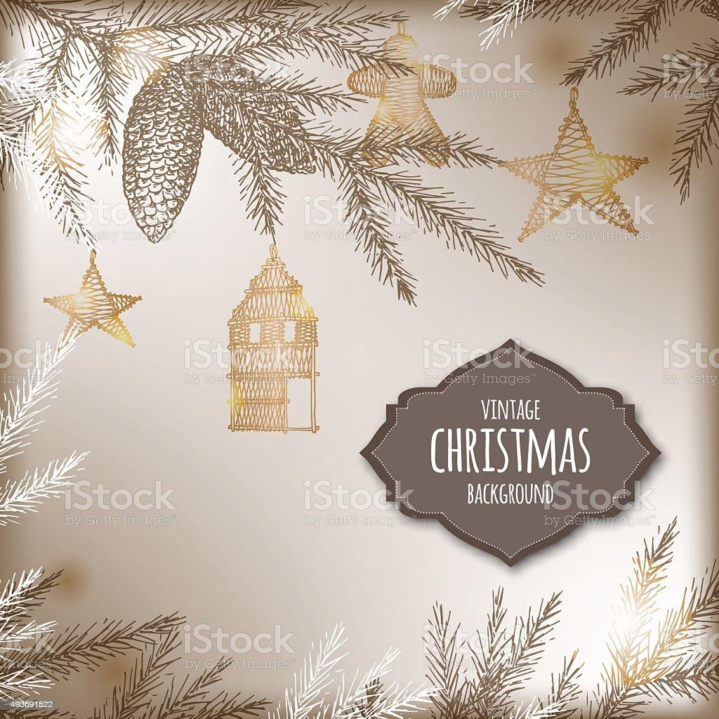 Fondo de navidad vintage con derivaci n de pinos y - Decoracion navidad vintage ...